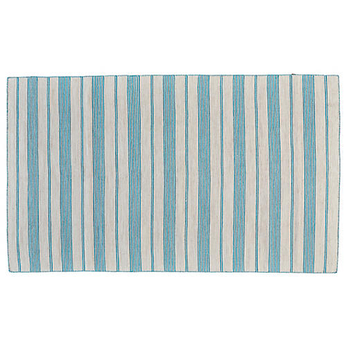 Gilford Outdoor Rug, Turquoise/White