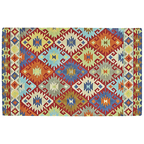Naas Outdoor Rug, Sunset Red/Multi