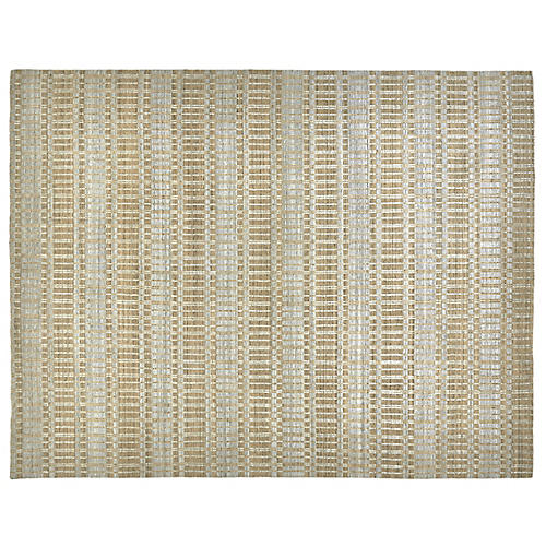 Hawthorne Hand-Knotted Rug, Tan/Silver