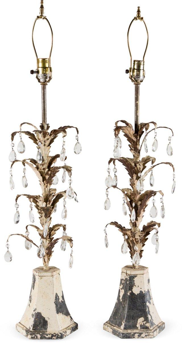 Metal Lamps w/ Crystals, Pair