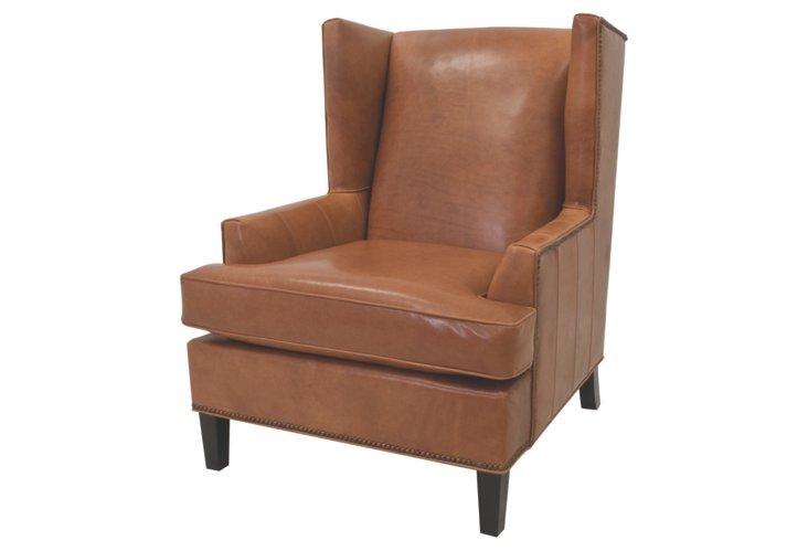 Bucks Wingback Chair, Cognac