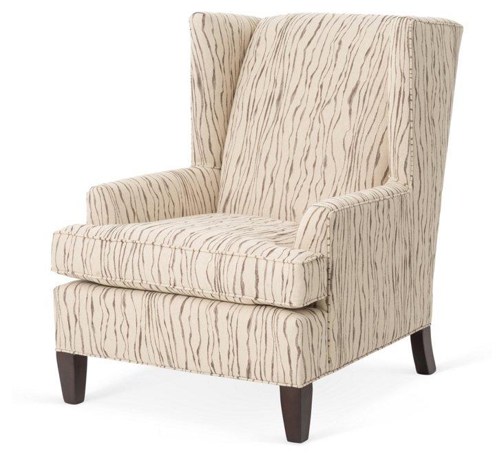 Bernard Wingback Chair, Rye Cream