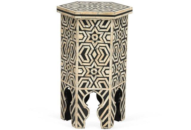 Moroccan Bone Inlaid Side Table