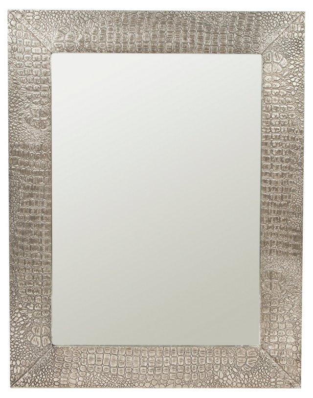 Snake Skin Wall Mirror, Silver