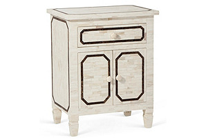 Bone Inlaid Side Table, Ivory/Brown