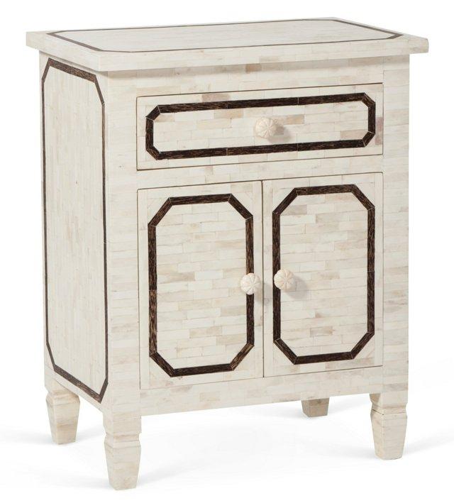 Bone-Inlay Table, Ivory/Brown