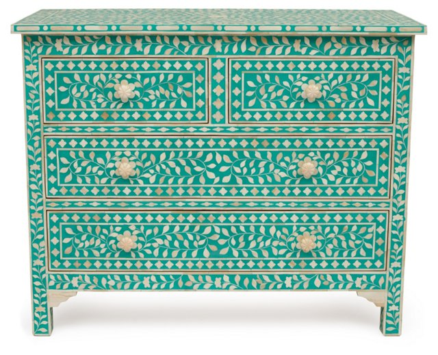 Bone-Inlay Chest, Teal/Ivory