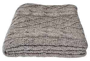 Handknit Alpaca Cable Throw, Gray