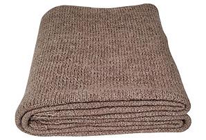 Handknit Alpaca Throw, Mocha