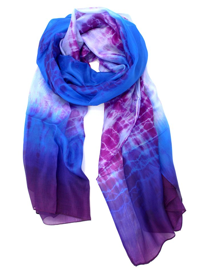 Silk Tie-Dye Scarf, Blue