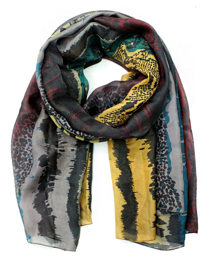 Silk Tye Dye Scarf, Teal/Yellow/Burgundy