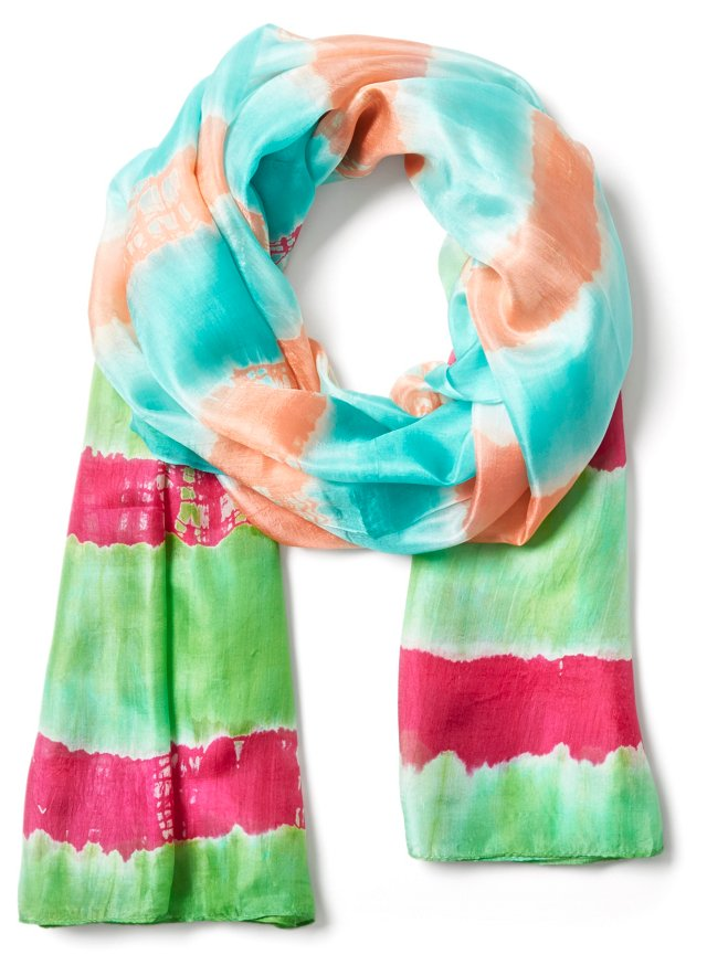 Lillian Water Print Tie-Dye Scarf, Lime