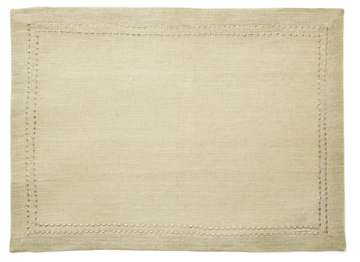 S/4 Rice Stitch Place Mats, Beige
