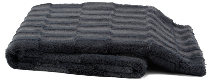 Plush Throw, Dark Gray