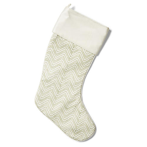 "21"" Calipari Stocking, Emerald/Ivory"