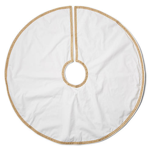 Irving Tree Skirt, Ivory/Gold