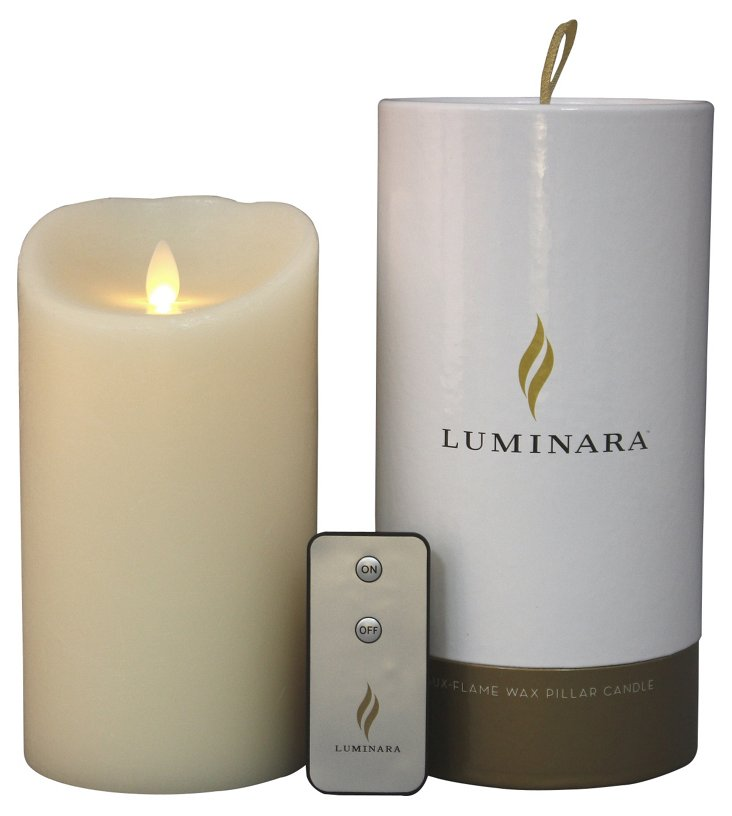 """7"""" Flameless Candle w/ Remote, Ivory"""