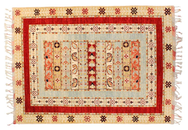 "5'8""x7'9"" Tribal Morocco Rug, Tan/Red"