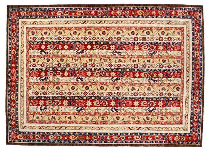 "6'9""x9'5"" Rhodes Rug, Red/Cream/Navy"