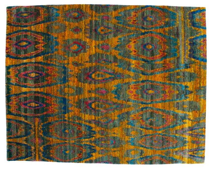 """8'x10'1"""" Sari Silk Rug, Saffron/Azure"""