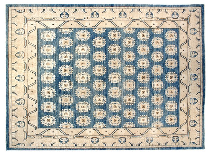 "8'9""x11'8"" Khotan Rug, Denim Blue/Ivory"