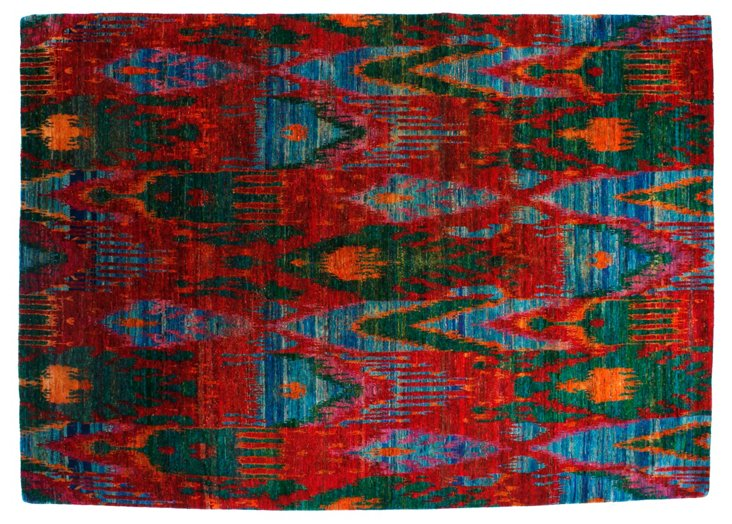 "9' x 12'8"" Sari Silk Ikat Rug, Red/Multi"