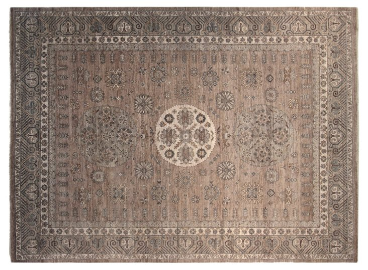 9'x12' Khotan Rug, Gray/Light Sage