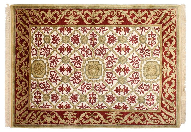 """5'1""""x7'4"""" Royal Rug, Ivory/Red"""