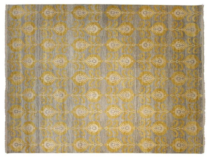 """9'1""""x12' Adelle Rug, Light Blue/Gold"""