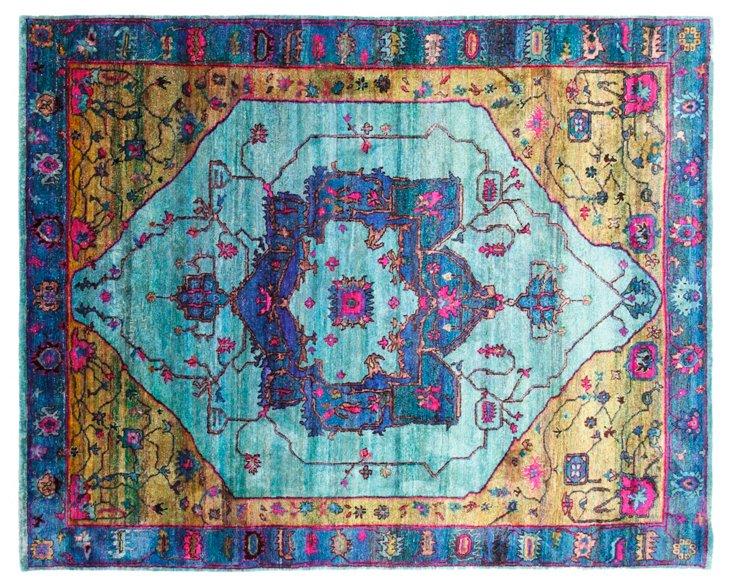 "7'11""x10' Sari Silk Lipari Rug, Blue"