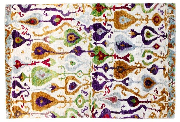 4'x6' Sari Silk Maui Rug, Ivory/Multi