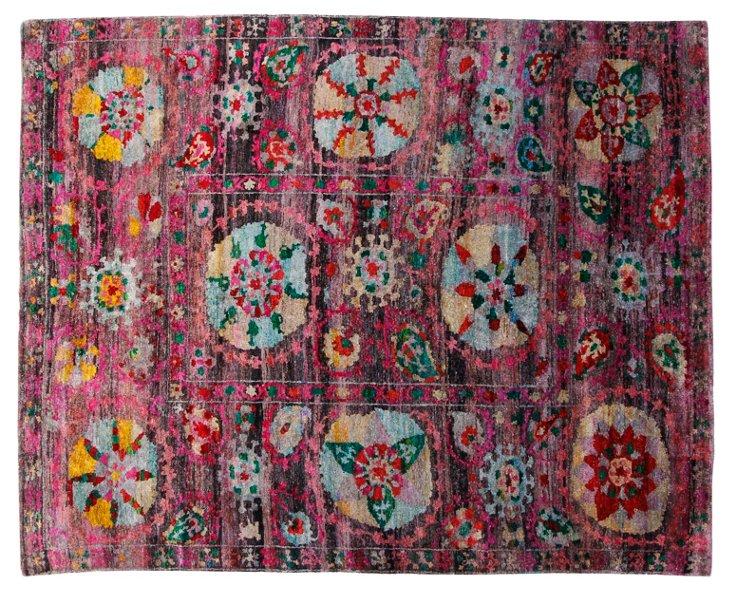 "8'1""x10' Sari Silk Suzani Rug, Fuchsia"