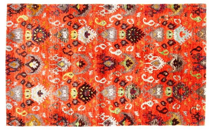 "4'x6'6"" Sari Silk Dominica Rug, Orange"