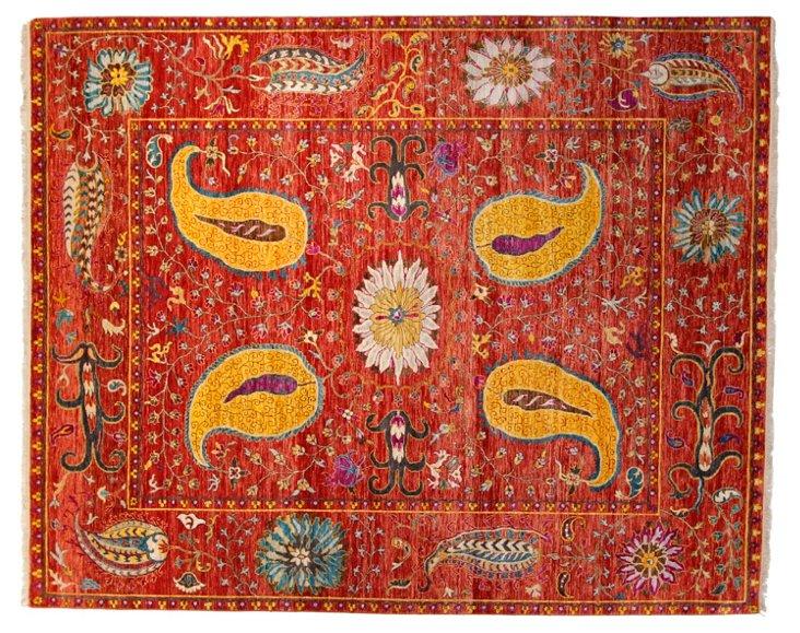 """6'2""""x9'3"""" Sari Wool Suzani Rug, Multi"""