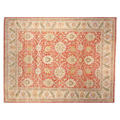 9'x12' Oushak Wool Rug, Red/Ivory