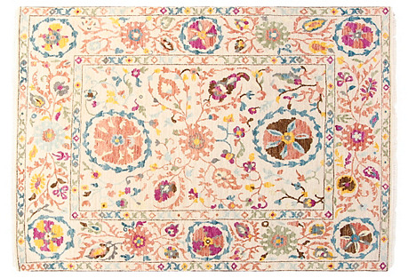 5'x7' Sari Wool Suzani Rug, Ivory