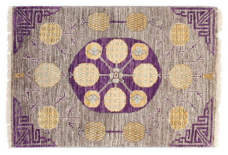 2'x3' Sari Wool Khotan Rug, Gray/Purple