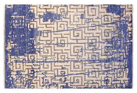 6'x9' Loft Rug, Ivory/Blue