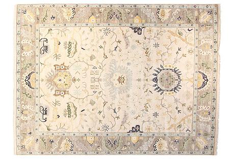 12'x15' Oushak Rug, Ivory/Gray