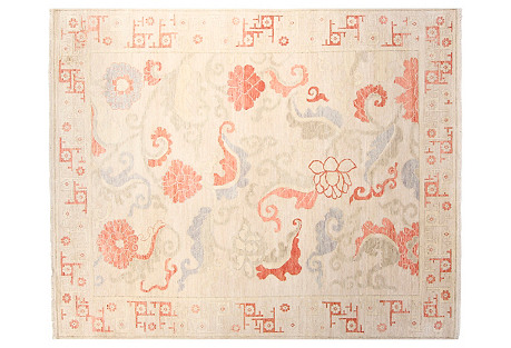 8'x10' Roma Rug, Ivory/Coral