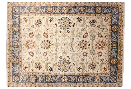 10'x14' Oushak Rug, Ivory/Denim