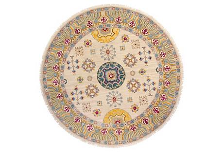 Sari Khotan Round Rug, Ivory