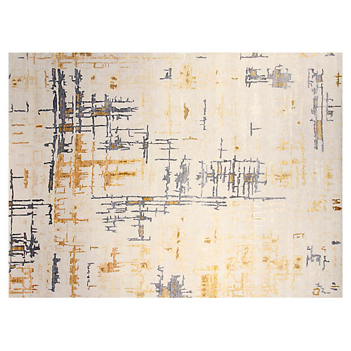 9'x12' Diamond Rug, Ivory/Gold