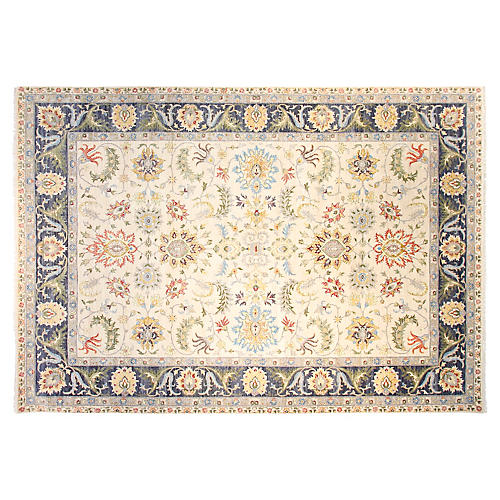 10'x14' Ralyn Rug, Ivory/Navy Blue