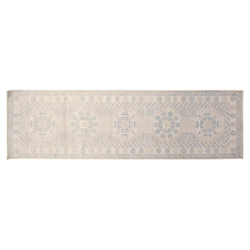"2'7""x9'9"" Khotan Runner, Light Blue/Ivory"