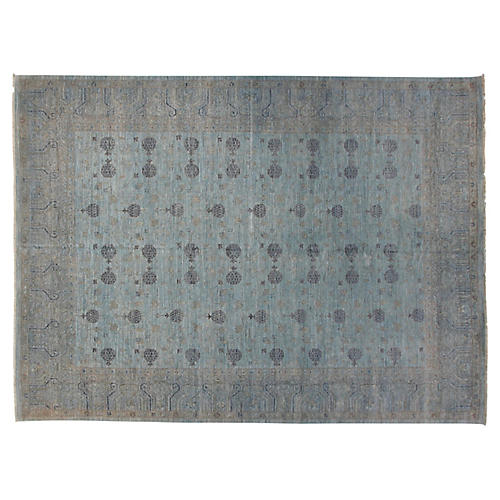 12'x15' Khotan Rug, Silver/Blue
