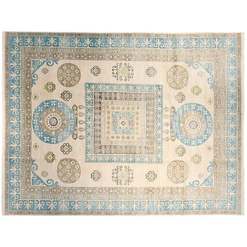 "9'1""x12' Sari Khotan Handwoven Rug, Ivory/Blue"