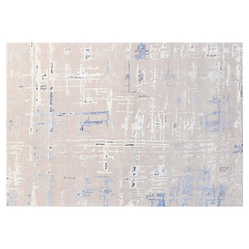 4'x6' Diamond Hand-Knotted Rug, Gray/Blue
