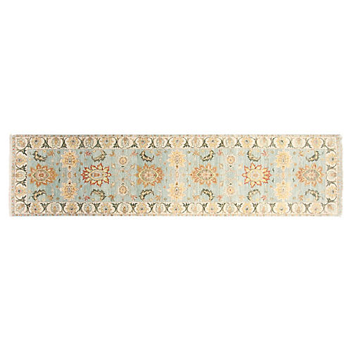 "2'6""x10' Agra Hand-Knotted Runner, Aqua"