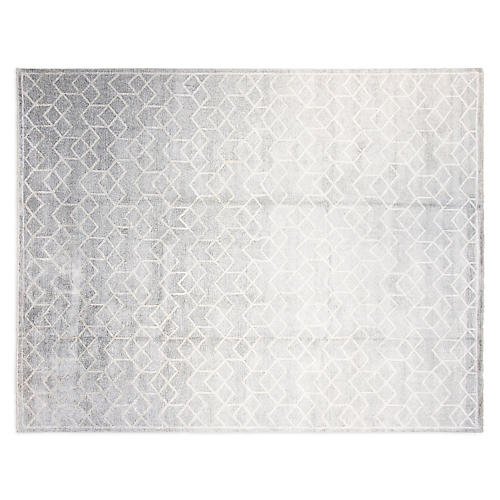 9'x12' Daniel Hand-Knotted Rug, Silver